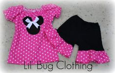 Custom Boutique Clothing Pink White Dot Minnie Mouse Peasant Short Set on Etsy, $39.99
