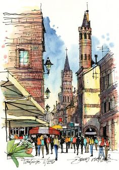 Rue du Taur, Toulouse Art Print by James Richards - X-Small Architecture Drawing Sketchbooks, Watercolor Architecture, Sketchbook Drawings, Watercolor Landscape, Landscape Sketch, Watercolor Sketch, Watercolor Paintings, City Sketch, James Richards