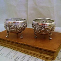 Matched pair 1930's Dutch Indonesian Djokja silver open salt cellar dips. The salts are approximately 2 3/8 inches  wide x 1 3/4 inches high. These have been tested as they... #etsygift #vogueteam