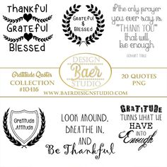 Gratitudes Quotes, Inspirational Quotes, Thanksgiving Quotes, Printable Quotes, Gratitude Word Art, Quote Clip Art, #10416 by BaerDesignStudio on Etsy