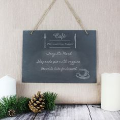 Personalised Large Slate Hanging Menu Board by Sassy Bloom As seen on TV, the perfect gift for Explore more unique gifts in our curated marketplace. Character Words, Slate Signs, Special Symbols, Personalized Wedding Gifts, Personalised Signs, Kitchen Signs, Hanging Signs, Rustic Feel, Couple Gifts