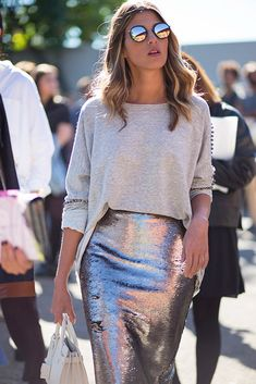 metallic sunnies and pencil skirt and gray sweater