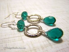 Emerald Green Swarovski Crystal Faceted Teardrop Earrings by CYDesignStudio,