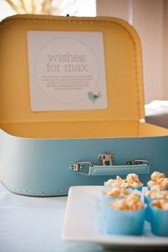 Pin for Later: An Adorable Naming Ceremony With an Elephant Twist A Suitcase of Wishes Guests were asked to write a special note for Max, which his parents would read to him at a later date. Source: Style Me Gorgeous First Birthday Parties, First Birthdays, Naming Ceremony, Baby Blessing, Name Day, Baby Christening, Party Treats, Baby Shower Themes, Shower Ideas