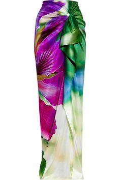 ROBERTO CAVALLI Floral-print stretch silk-satin maxi skirt $1,065