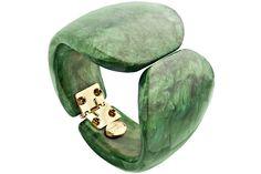 Bracelet Juliette en résine, articulé, vert, Ø65mm Dominique Denaive