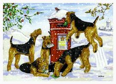 Ragtail - The Art of Terriers. Paintings, Christmas Cards, Prints & Art Cards specialising in Dogs, by Artist Ann Curran. Welsh Terrier, Airedale Terrier, Terriers, Sweet Dogs, We Three Kings, The Donkey, Fairy Land, Blank Cards, Funny Dogs