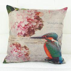 Retro Flower and Bird Printed Square Composite Linen Blend Pillow Case