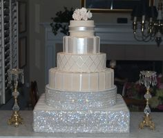 4 tier round cake with and square bling base: Wedding Cake Bling; Beautiful Cakes That Sparkle & Shine | IDEAL PR MEDIA