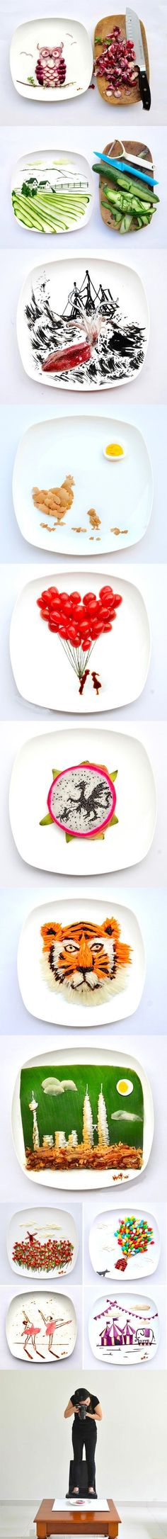 Funny pictures about Artist Hong Yi plays with her food. Oh, and cool pics about Artist Hong Yi plays with her food. Also, Artist Hong Yi plays with her food. Cute Food, Good Food, Awesome Food, Fruit Art, Food Humor, Creative Food, Food Presentation, Food Design, Food Art
