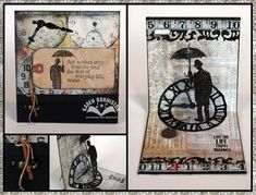 Live the Life Pop-Up card with Tim Holtz Sizzix dies Umbrella Man and Weathered Clock
