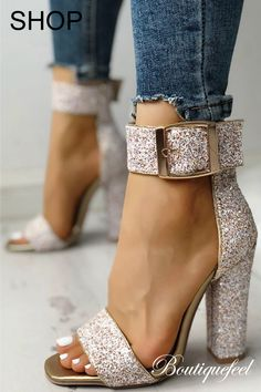 801c189d1a228 Stylish Sequin Open Toe Chunky Heeled Sandals Strap Heels