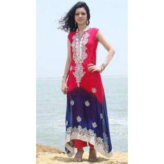 Schoking Pink Blue Color Chiffon Dress Contact: (702) 751-3523 Email: info@pakrobe.com Skype: PakRobe