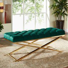 Leo Velvet Bench (Multiple Colors) by Meridian Furniture Metal Furniture, Home Decor Furniture, Rustic Furniture, Luxury Furniture, Furniture Design, Furniture Usa, Furniture Removal, Living Room Bench, Living Room Sofa Design