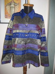 Chico's 100% Silk  Embroidered Quilt Beaded Jacket Button Top sz 2 Chicos, L US #Chicos #BasicCoat