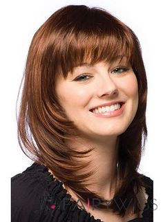 Layered Shoulder Length Straight Human Hair Monofilament Wigs With Bangs, Best Wigs Online Sale Best Human Hair Wigs, Cheap Human Hair Wigs, Real Hair Wigs, Best Wigs, Short Hair Wigs, Wigs With Bangs, Hairstyles With Bangs, Straight Hairstyles, Cut My Hair