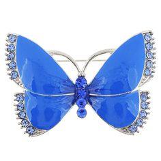 Enamel Blue Butterfly Pin Brooch