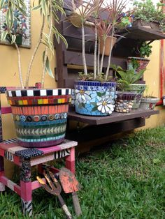 Mosaic Pots, Table, Furniture, Home Decor, Decoration Home, Room Decor, Tables, Home Furnishings, Home Interior Design