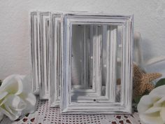 White Wedding Table Number Frame Rustic Shabby Chic Picture Photo Decoration Beach Cottage French Country Farmhouse Home Decor 4 x 6, 5 x 7