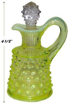 Fenton-Hobnail-Topaz-Opalescent-Oil-Bottle-Original-1940s-Bottle