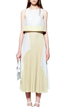 Lightweight Cloque Sleeveless Dress With Pleated Skirt by Proenza Schouler for Preorder on Moda Operandi