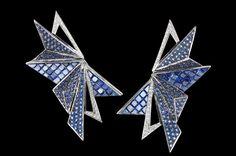 KAVANT & SHARART  Blue Sapphire, Diamond Earrings Origami art collection www.kavantandsharart.com