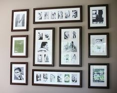 Gallery wall. Love the film strip look.