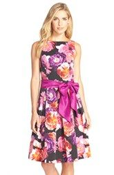 Eliza J Floral Print Faille Fit & Flare Dress (Regular & Petite)
