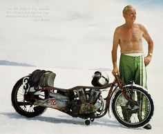 Burt Munro- New Zealand motorcycle racer, famous for setting an world record, at Bonneville, 26 August This record still stands today. Munro was 68 and was riding a old machine when he set his last record. Burt Munro, Vintage Motorcycles, Custom Motorcycles, Custom Bikes, Indian Motorcycles, Valentino Rossi, Scrambler, Indian Scout, Honda Cb750