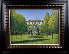 """FOR SALE: 'The Sundial Garden ~ Highgrove'. Oil on panel, 15"""" X 11"""" (21"""" X 17"""" framed). £7,200. This is the small oil painting I created in 2007 while I was making my map of Highgrove Gardens which recently appeared on the slip-cover of the leather-bound, limited-edition £500 version of Prince Charles's latest book; 'Highgrove - A Garden Celebrated' which he wrote with Bunny Guinness. For this view I chose the facade of the house facing The Sundial Garden. It's executed in miniaturist detail…"""