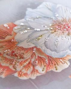 Best embroidery fashion diy haute couture Ideas Source by couture embroidery Zardozi Embroidery, Hand Work Embroidery, Couture Embroidery, Creative Embroidery, Rose Embroidery, Embroidery Fashion, Hand Embroidery Designs, Hand Painted Dress, Hand Painted Fabric