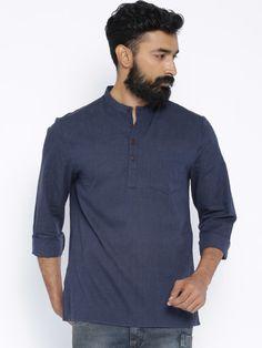 Buy Indus Route By Pantaloons Navy Short Kurta - Kurtas for Men | Myntra