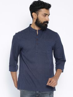 Buy Indus Route By Pantaloons Navy Short Kurta - Kurtas for Men | Myntra
