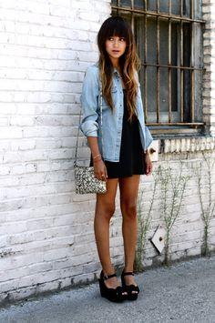 denim polo + black dress