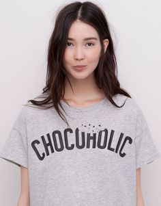 PRINTED T-SHIRT - GREY MARL