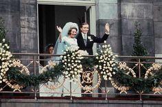 Prinses Beatrix van Oranje Nassau van Lippe-Biesterfeld met prins Claus van Ambsberg......The Netherlands.