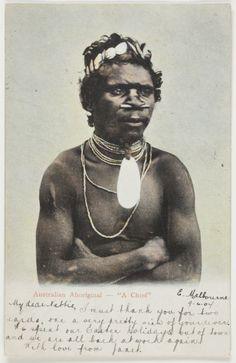 "Australian Aborigines   Postcard - Australian Aborigine, ""A Chief"", To Nettie Scott from Janet ..."