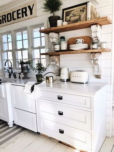Shabby chic kitchen cabinets - Cottage Style Kitchen Shelves To Paint or Stain ! Shabby Chic Kitchen Cabinets, Farmhouse Kitchen Decor, Home Decor Kitchen, New Kitchen, Home Kitchens, Farmhouse Style, Country Kitchens, Kitchen Cupboard, Awesome Kitchen
