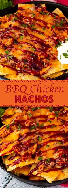 These BBQ Chicken Nachos are a great addition to any party — especially Game Day! Crunch tortilla chips topped with chicken, bacon and red onions that are slathered in sweet BBQ sauce and topped with loads of cheese! Fish Recipes, Beef Recipes, Mexican Food Recipes, Chicken Recipes, Snack Recipes, Dessert Recipes, Ethnic Recipes, Uk Recipes, Chicken Ideas