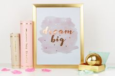 Aaah I love a bit of copper foil art and this is a really pretty inspiring print which features lovely copper foil! The background is a light lovely peachy/pink watercolour and some lovely real copper foil text which reads dream big with some copper spots around it; This print would make a cute gift for mum or is perfect if you are looking for christmas gift ideas! It would also look lovely as a piece of bedroom wall art which catches the light beautifully! This piece of copper wall art...