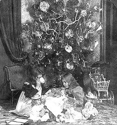 This period photo is of early 1840's Christmas morning.