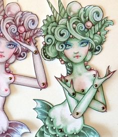 Posable Paper Mermaids by JDavidMcKenney on Etsy. , via Etsy.