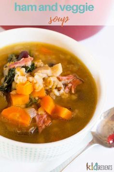 This delicious ham and veggie soup is a winter warmer the whole family will love!  Filled with veggies and slow cooked ham, it's a perfect weeknight meal. #kidgredients #soup #ham #winter #dinner #soupforkids #delicious Kitchen Recipes, Soup Recipes, Cooking Recipes, Cooking Ideas, Slow Cooked Ham, Kids Meals, Easy Meals, Healthy Snacks, Healthy Recipes