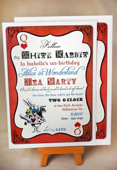 Invites at a Alice in Wonderland Party #aliceinwonderland #partyinvites