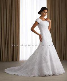 Square Neck Modest Trumpet Wedding Gown
