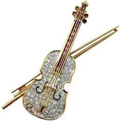 #Diamond #Ruby #Violin #Brooch #Pins #Jewellery