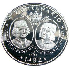 Moneda 3 onzas de plata 30 pesos Cuba Hermanos Pinzón 1991.