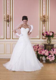 Klassisches A-Linien Brautkleid in Elfenbein und Weiß mit Sweetheart ...