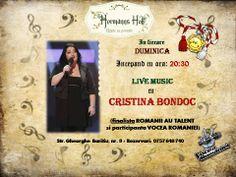 In aceasta seara va asteptam cu drag sa ne bucuram de o Duminica minunata alaturi de Bondoc Cristina :)