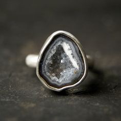 Grey Geode Ring in Sterling Silver by anatomi on Etsy